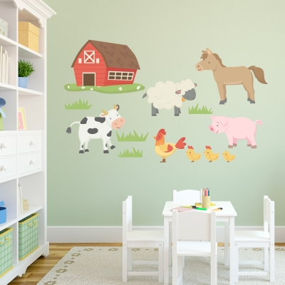Barn Yard Animals Printed Decal Kit