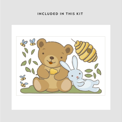 Cute Bunny and Bear Printed Decal Kit