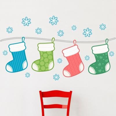 Christmas Stockings Printed Wall Decal