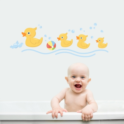Duck Bath Standard Printed Wall Decal