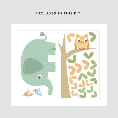Elephant and Owl Printed Decal Kit