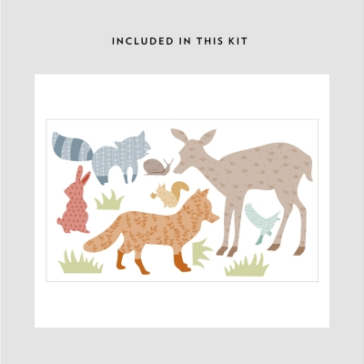 Patterned Forest Animals Printed Decal Kit