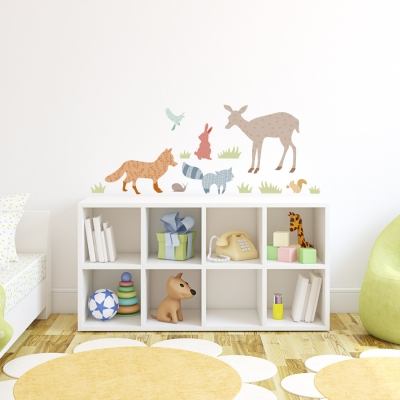 Patterned Forest Animals Standard Printed Wall Decal