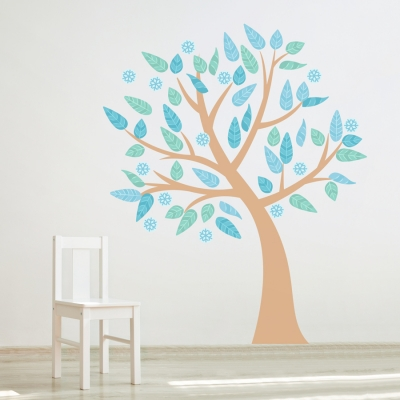 Four Season Tree Printed Wall Decal Winter