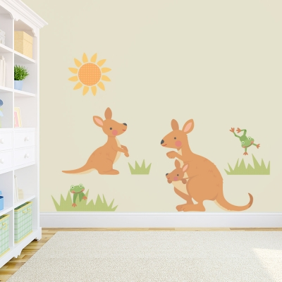 Kangaroo Family Standard Printed Wall Decal