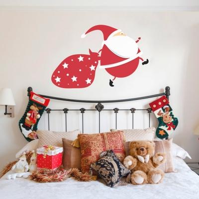 Running Santa Printed Wall Decal