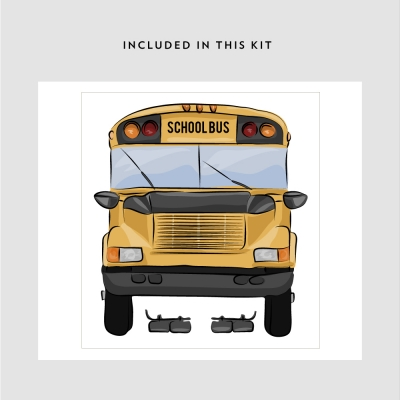 School Bus Printed Wall Decal Kit