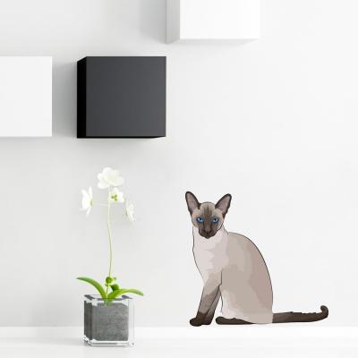 Siamese Cat Dane Standard Printed Wall Decal