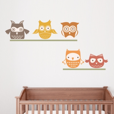 Woodland Owls Printed Wall Decal