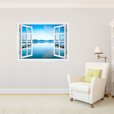 Serene Waterscape Faux Window Mural