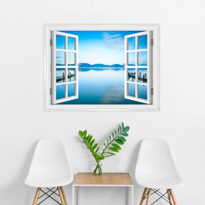 Serene Waterscape Window Mural