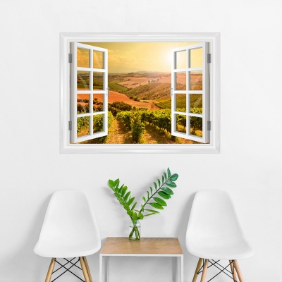 Sunkissed Vineyards Faux Window Mural