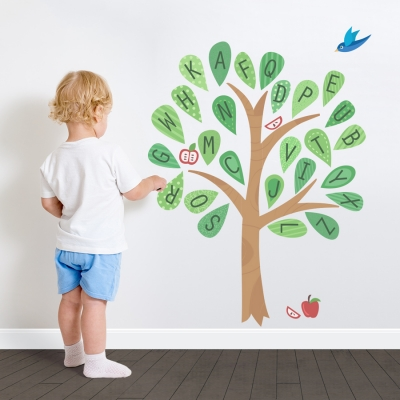 Alphabet Pattern Tree Printed Wall Decal