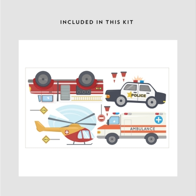 Emergency Cars Printed Wall Decal Kit