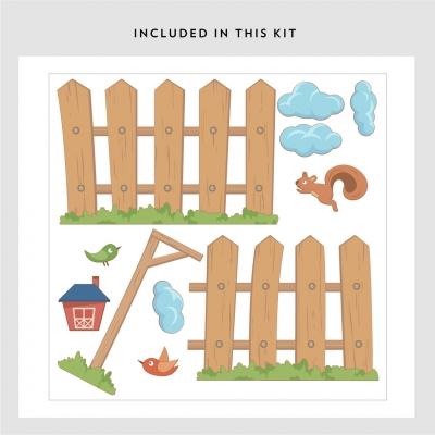 Kids Picked Fence Printed Wall Decal Kit
