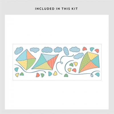 Patterned Kites Printed Wall Decal Kit