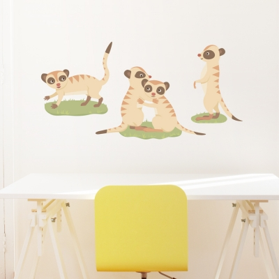 Meerkat Family Printed Wall Decal