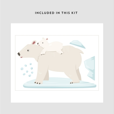 Polar Bears Printed Wall Decal Kit