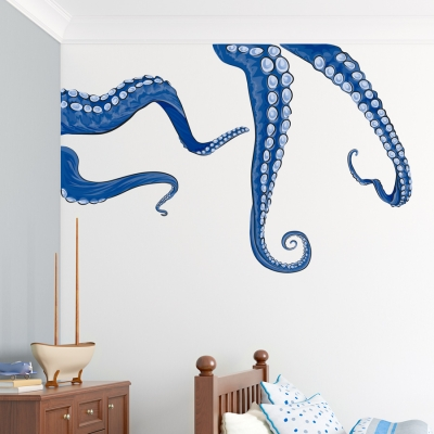 Blue Tentacles Printed Wall Decal