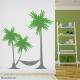 Palm tree hammock wall decal