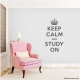 Keep Calm and Study On Wall Quote Decal