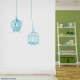 Wire bird cages wall decal