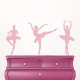Carnation Pink Ballerina Trio Wall Decal