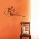 Full Of Thanks Wall Quote Decal