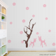 Deers and Blooming Flowers Wall Decal