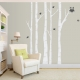 White Birch Trees with Owl and Birds Wall Decal