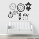 Black Clock Faces Wall Decal