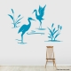 Cattails and Heron wall decal