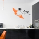 Humingbirds Black and Persimmon Wall Decal Kit