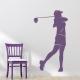 Female Golfer Wall Decal