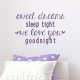 Sleep Tight Violet Wall Quote Decal
