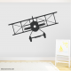 Black Vintage Plane Wall Decal