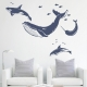 Whales and Dolphins Dark Blue Wall Decal