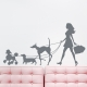 Girl Walking Dogs Storm Wall Decal