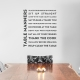 Table Manners Black  Wall Quote Decal