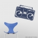 Boombox Wall Decal Dark Blue