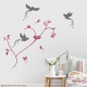 Butteflies and Birds Lipstick Red and Storm Grey Wall Decal
