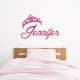 Princess Crown Name Wall Decal Storm Grey