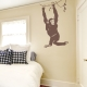 Hanging Chimp Wall Decal Storm Grey